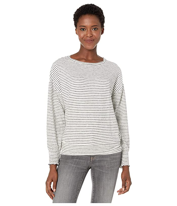 Lucky Brand  Stripe Cloud Jersey Smocking Top (Black/White Stripe) Womens Clothing