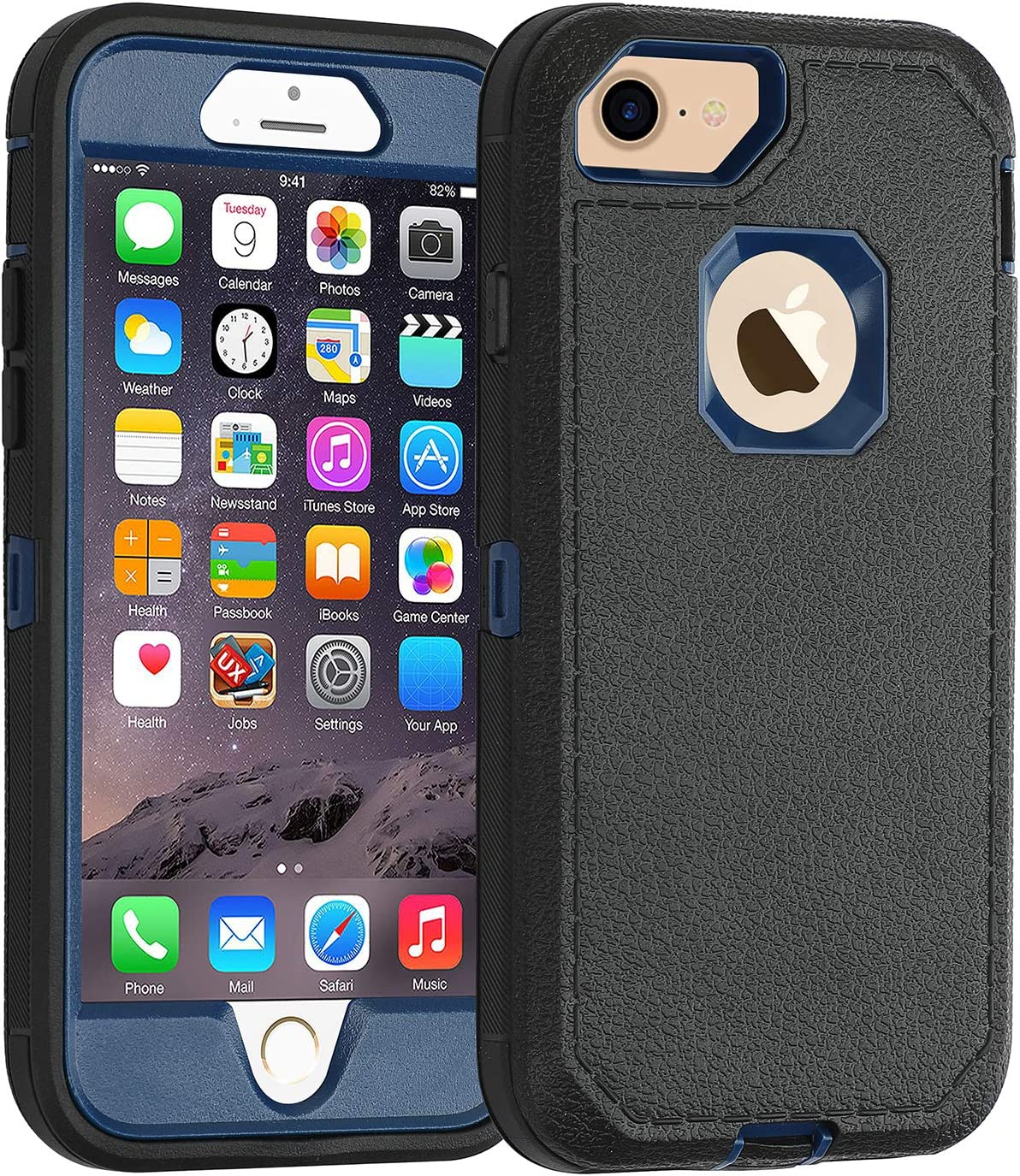 Co-Goldguard Case iPhone 7 Heavy Duty iPhone 8 Case Durable 3 in 1 Hard Cover Dust-Proof Shockproof Drop-Proof Scratch-Resistant Shell (Black/Blue)