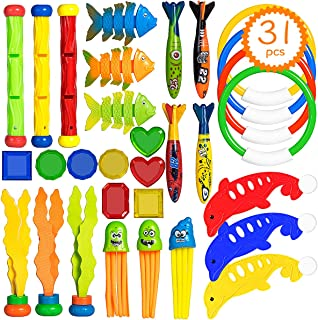 LoiStu 31 Diving Pool Toys, Used Underwater, Includes Ring (4), Toy Torpedo (4), Diving Sticks (3), Dolphin (3), Seaweed (3), Fish Toys (3),Octopus (3), Gemstone (8)