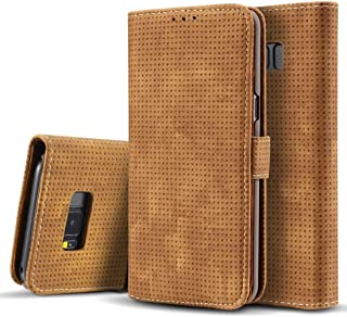 2018 Phone Covers for Samsung Galaxy S8,Retro Style Mesh Breathable Horizontal Flip Leather Case with Card Slot & Holder & Wallet (Color : Brown)