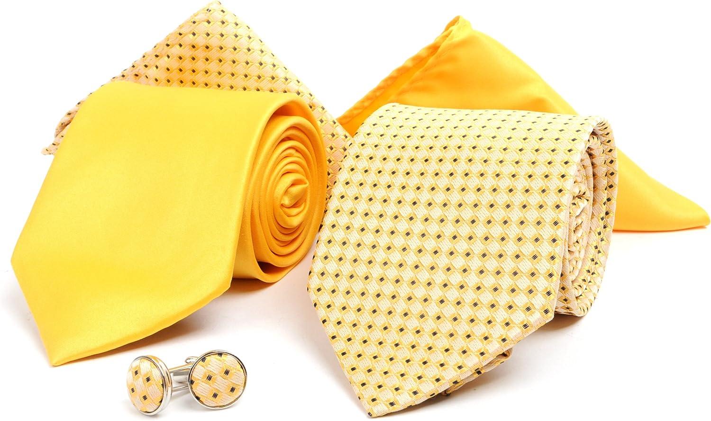 Men's Tie, Handkerchief & Cufflinks Boxed Set - Two Ties, Two Handkerchiefs & Cufflinks