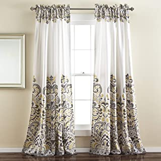 Lush Decor Clara Curtains Paisley Damask Print Bohemian Style Room Darkening Window Panel Set for Living, Dining, Bedroom (Pair), 84