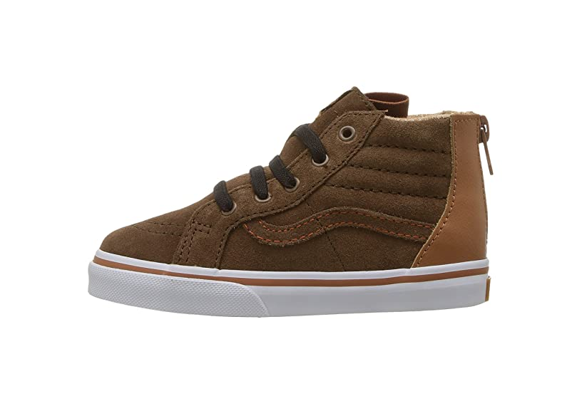 Vans Infant/Toddler Shoes SK8-Hi Top Zip Suede Brown (MTE) Potting Soil Fashion Sneakers