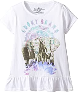 Short Sleeve Elephant Tee with Ruffle Hem (Little Kids)