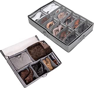 DECOLUXE Set of 2 Under Bed Shoe Organizer and Storage with Customizable Dividers up to 24 Pairs Total