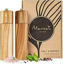 """Wooden Salt and Pepper Grinder Set, Manual, Acacia Wood, 8"""" - Elegant Salt Grinder and Pepper Grinder Mill for Seasoning, ..."""