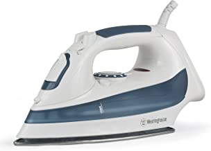 Westinghouse Professional Steam Iron with 7.4 Ounce Water Tank, 1200 Watts, Stainless Steel Soleplate, White with Dark Blue Accents