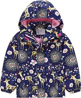 Zonesome Girls Rain Jacket Lightweight Raincoat Waterproof Hoodie Windbreaker for Kids 10 Deepblue