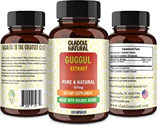 Oladole Natural Guggul Extract 500 mg 120 Capsules | Supports Healthy Cholesterol Levels | Non-GMO and Gluten Free Supplement