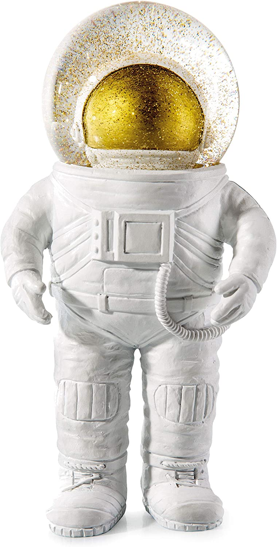 DONKEY Products Summerglobe The Giant Astronaut, Schneekugel, Glitzerkugel, Dekoration, Glas, Polyresin, Wei, Golden, 30 cm, 330447