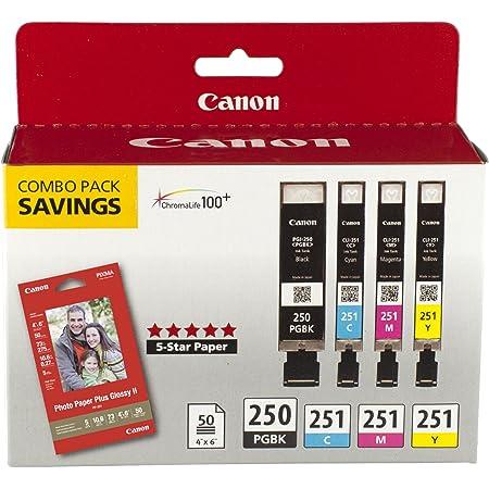 Canon PGI-250/CLI-251 with Photo Paper 50 Sheets Compatible to MG6320, iP7220 & MG5420, MX922, MG7120, MG6420, MG5520, iX6820, iP8720, MG7520, MG6620, MG5620