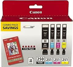 Canon PGI-250/CLI-251 with Photo Paper 50 Sheets Compatible to MG6320, iP7220 & MG5420, MX922, MG7120, MG6420, MG5520, iX6820, iP8720, MG7520, MG6620, MG5620 (Optional)
