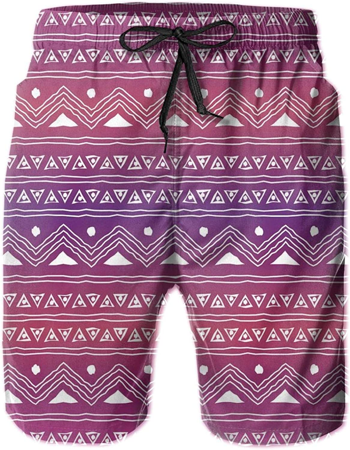 Geometric Pattern with Ethnic Motifs and Ombre Backdrop Primitive Culture Doodle Art Swimming Trunks for Men Beach Shorts Casual Style,XL
