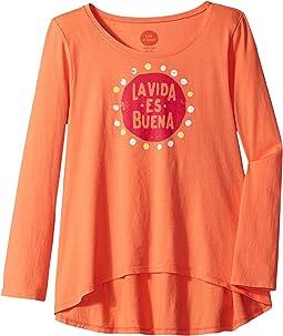 La Vida Es Buena Long Sleeve Scoop Neck Swing Tee (Little Kids/Big Kids)