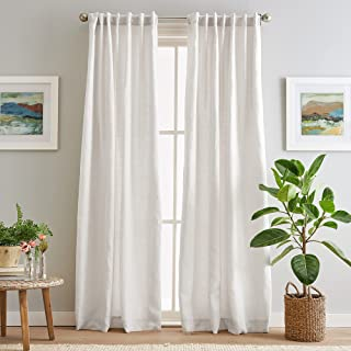 """Peri Home 100% Linen Back Tab Lined Curtain Panel Pair, 84"""", White"""