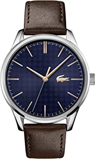 Lacoste Men's Blue Dial Brown Leather Watch - 2011046