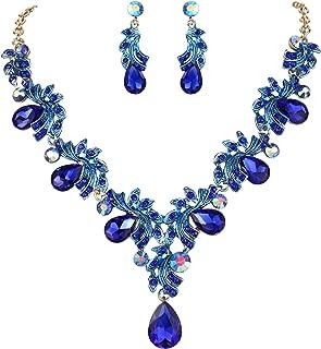 Women's Wedding Bridal Crystal Teardrop Filigree Leaf Twig Enamel Statement Necklace Dangle Earrings Set