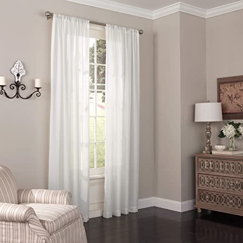 new arrival Eclipse Chelsea Modern Sheer Voile Light Filtering Rod 2021 Pocket Window discount Curtains for Bedroom or Living Room (Single Panel), 52x95, White sale