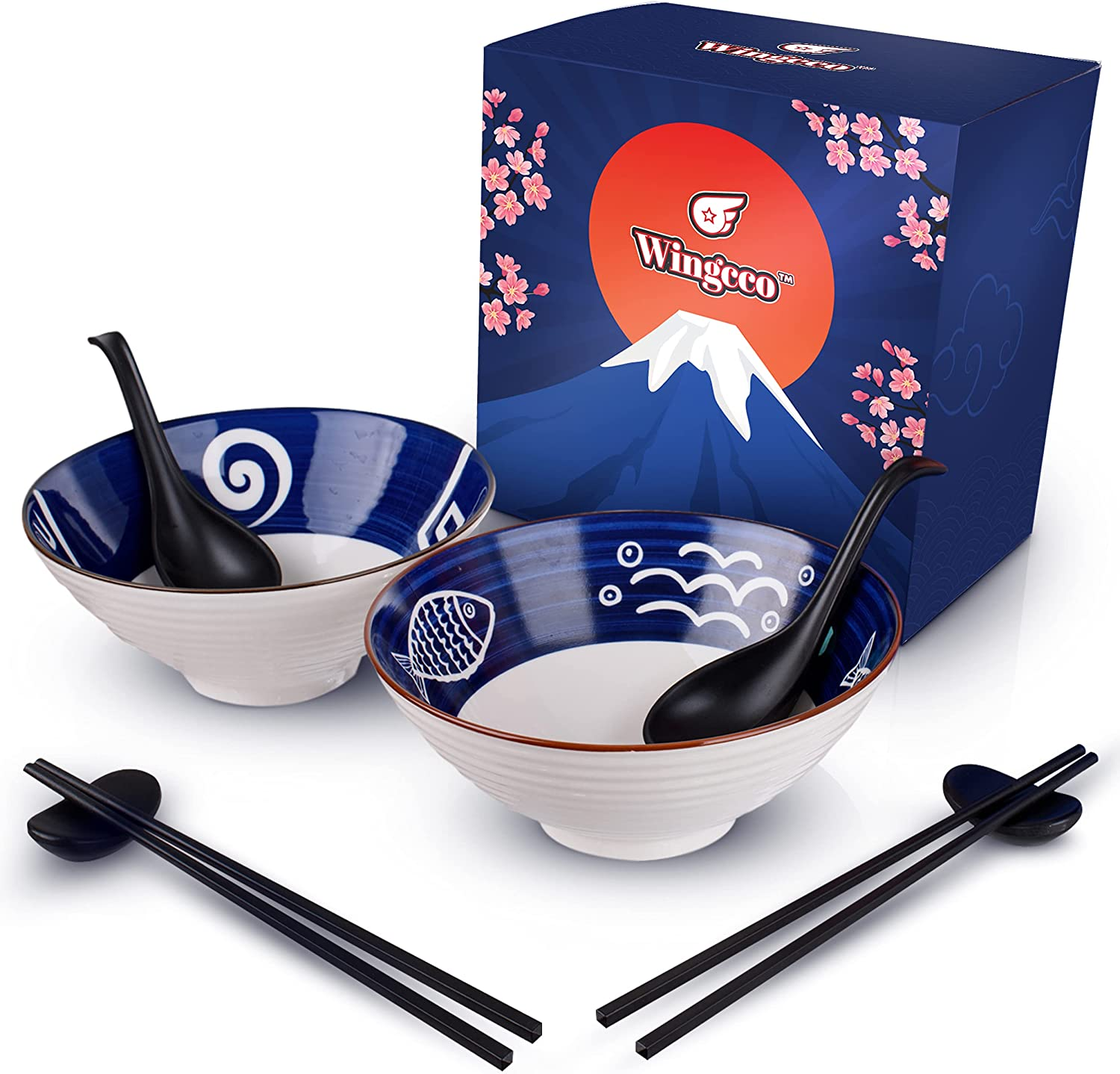 Wingcco New mail order Japanese Ceramic Ramen Bowl 8-Piece Max 58% OFF Match - Set With