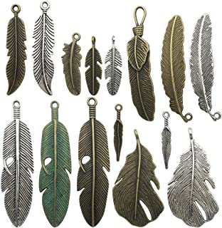 100g Feather Charms Collection - Antique Silver Bronze Patina Big Goose Bird Plume Plumage Pinion Wing Feather Metal Pendants for Jewelry Making DIY Findings (HM17)