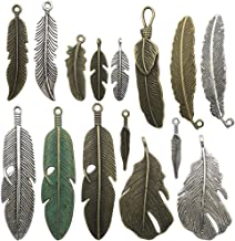 Feather Charm Pendant Antique Silver Beads for Jewelry Making B34