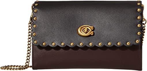 COACH Color-Block Scallop Rivets Marlow,Black Multi