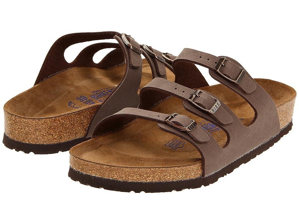 Birkenstock Florida Soft Footbed - Birkibuc (Mocha Birkibuc) Women's Sandals