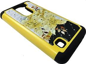 For LG K7 K330 MS330 / Tribute 5 LS675 / Treasure L52VL / K8 / PHOENIX 2 K371 / Escape 3 K373 Sparkle Bling Hybrid Phone Cover Case + Happy Face Phone Dust Plug (Sparkle Gold Yellow Lily)