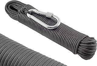 WIZ-ION-AIR Paracord 550 Seil, 4mm - Aus 30M Reißfestem Outdoor Nylon, 250kg Traglast, 9 Kern-strängen Typ 3 Fallschirm-Schnur, Mit Stahl Karabiner Haken