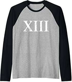 Roman Numeral 13 XIII ~ Thirteen Raglan Baseball Tee