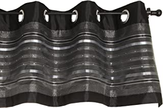 Stylemaster Fiesta Faux Silk Grommet Valance with Sequin Organza Onyx, 56-Inch by 18-Inch