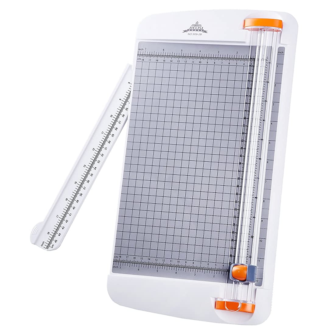 Work4U Titanium 12 Inch Paper Cutter A4 Paper Trimmer with Automatic Security Safeguard Guillotine for Coupon Craft Paper Label and Photo White (909-2B)