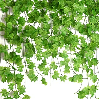 Udefineit 12 Pack 27.5m/90ft Artificial Green Maple Leaves Hanging Vines, Fake Foliage Ivy Garland Greenery Leaves Spring ...