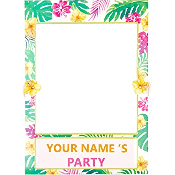 Amazon Com 2 In 1 Luau Photo Booth Props Frame Party Supplies Hawaiian Tropical Tiki Birthday Baby Shower Bridal Shower Wedding Decorations Assembly Needed Kitchen Dining