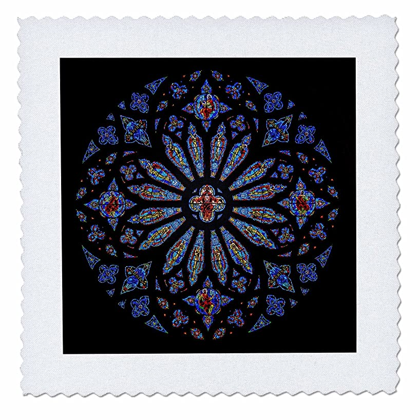 3dRose qs_123813_6 Stained Glass Rose Window Cathedral Quilt Square, 16 by 16-Inch