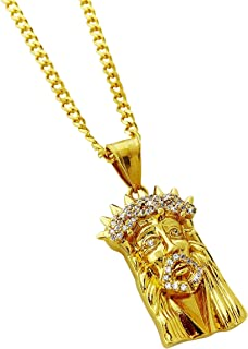 Jesus Piece Mini Pendant Stainless Steel Necklace with 24