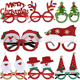 BLUBOON Christmas Halloween Party Eyeglasses Fancy Glittered Adult Kid Holiday Costume Photo Booth