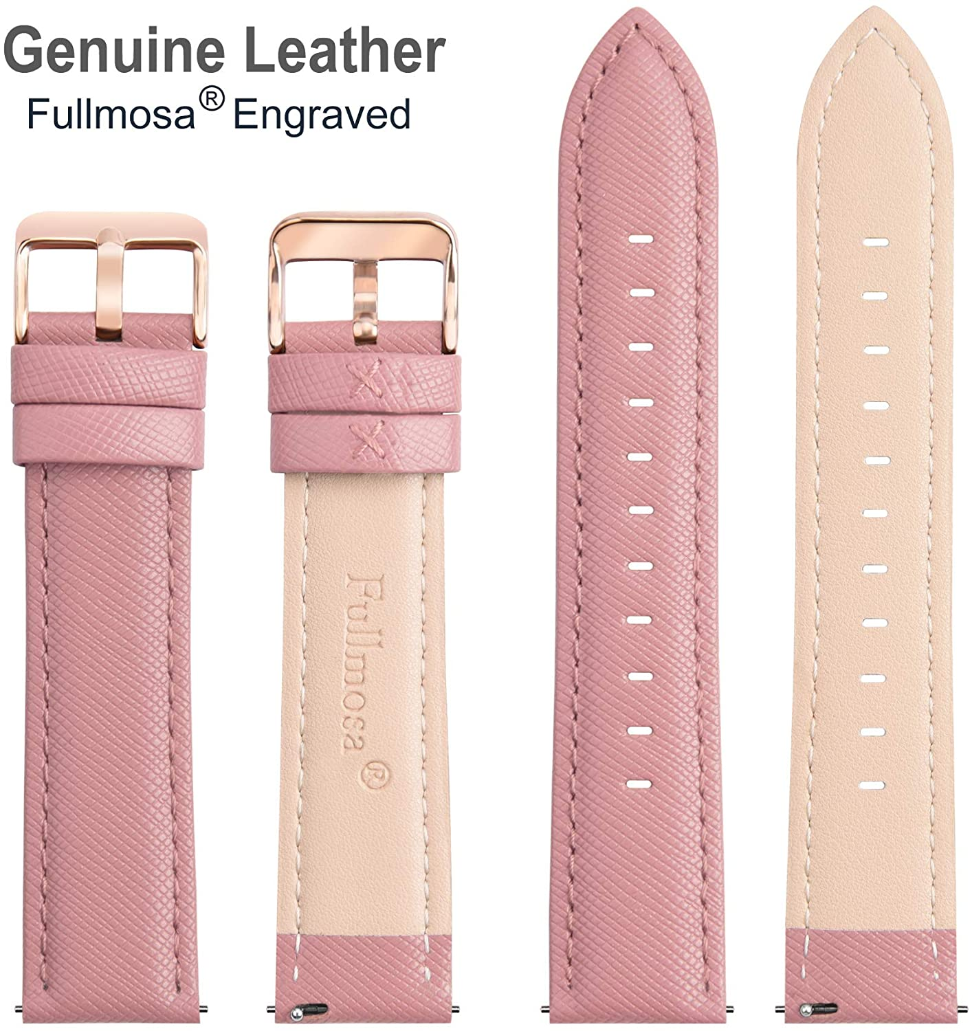 9 Colors for Quick Release Leather Watch Band, Fullmosa Cross Genuine Leather Replacement Wrist Strap for Men & Women 14mm 16mm 18mm 20mm 22mm 24mm