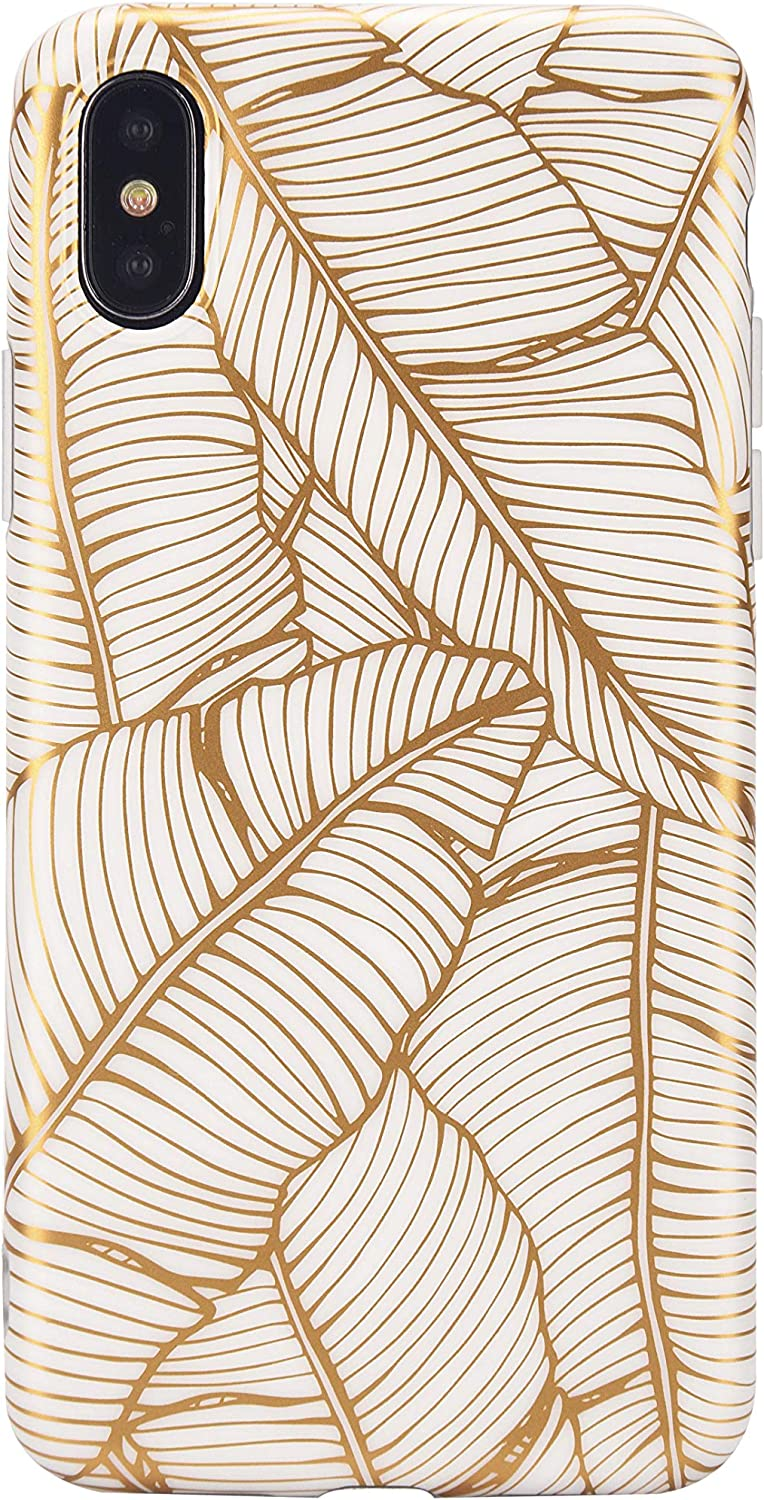 iPhone Xs Case, iPhone X case, Gold Leaves Tropical Case Cover for iPhone X/Xs Golden Bana Leaves Palm Leaves Floral Plant Soft TPU Case