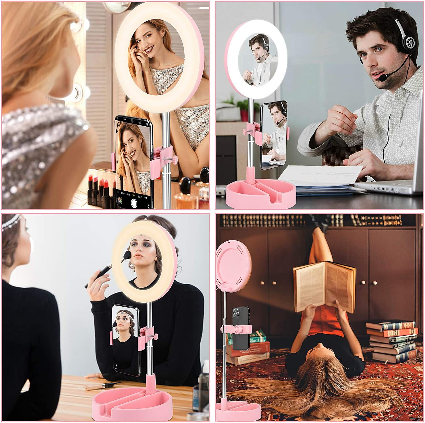 Selfie TikTok Portable LED Circle Light with Foldable Stand White 3 Colors /& 10 Brightness Desktop Ring Lamp for Makeup 6.3 Inch Ring Light with Makeup Mirror and Phone Holder YouTube Video