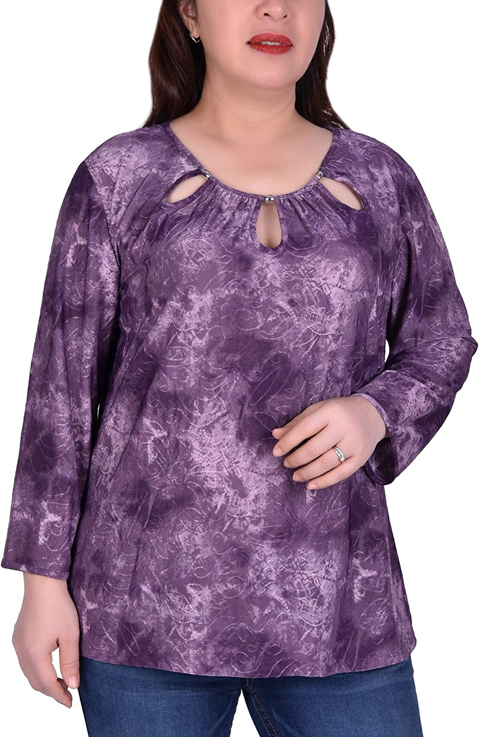 NY Collection Plus Size Long Sleeve Tunic With Neckline Cutouts Purple