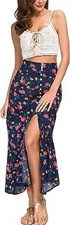 Women's Floral Crop Top Maxi Skirt Two Piece Side Split Long Maxi Dress