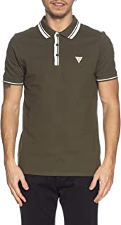 GUESS Polo con logo triangular, color verde caqui