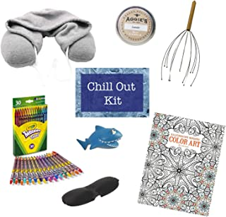 ANXIETY AND STRESS RELIEF KIT - COLLEGE, DORM ROOM CARE PACKAGE Includes Head Massager, Coloring Book, Colored Pencils, Relaxing Lavender Candle, Shark Stress Toy, Sleep Mask & Cozy Hooded Neck Pillow