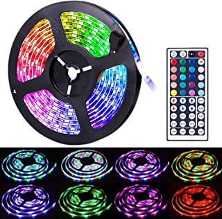 Led Strip Lights, Amazer Tec 16.4ft/5m Led Lights Color Changing RGB SMD 5050 150Leds LED Strip Light Kit with 24 Keys IR ...
