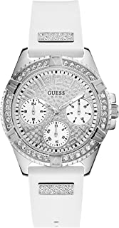Guess W1160L4 Strass Dial Crown Guard Round Silicone Analog Watch for Women - White