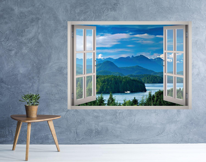 3D Window Landscape Self-adhesive Removable Wallpaper Murals Wall Sticker B131