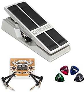 BOSS FV-500H High Impedance Volume Pedal Bundle with 2-Pack of Pedal Patch Cables and 4-Pack of Celluloid Guitar Picks