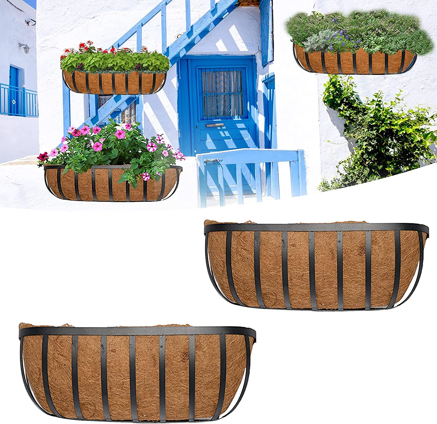 Metal Wall-Mounted Half Max 77% OFF Moon Shaped Coconut Liner Store Planter Basket