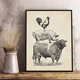 Canvas Painting Decorative Art Painting Wall Art Farm Poultry Cow Pig Chicken Vintage Poster Kitchen Decor French Country ...